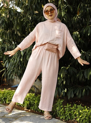 Pink - Pink - Unlined - Crew neck - Suit