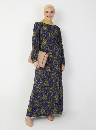 Purple - Floral - Crew neck - Unlined - Viscose - Modest Dress