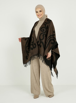 Brown - Black - Multi - Unlined - Acrylic - Triko - Poncho