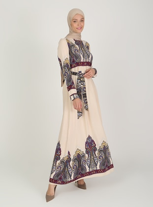 Cream - Multi - Crew neck - Unlined - Modest Dress