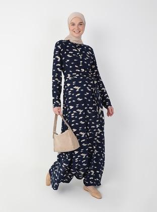 Navy Blue - Multi - Crew neck - Unlined - Modest Dress