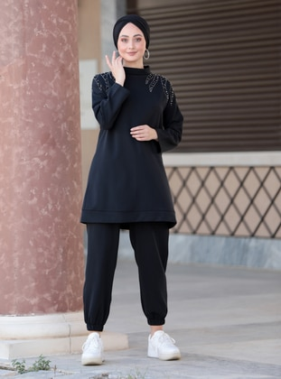Fully Lined - Black - Crew neck - Evening Suit