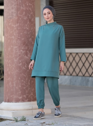 Fully Lined - Green - Crew neck - Evening Suit