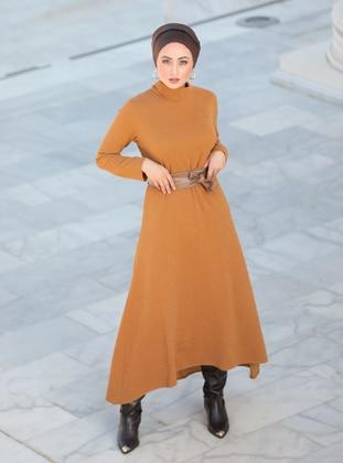 Mustard - Fully Lined - Crew neck - Modest Evening Dress