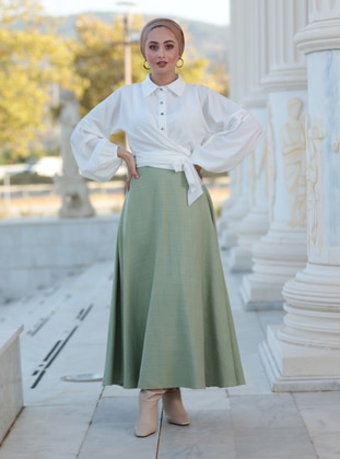 Fully Lined - Green Almond - Evening Skirt
