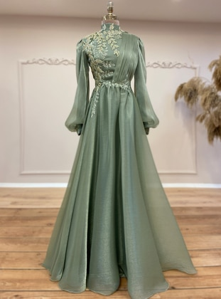 Green Almond - Fully Lined - Crew neck - Modest Evening Dress