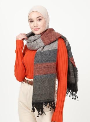 - Tan - Printed - Shawl Wrap