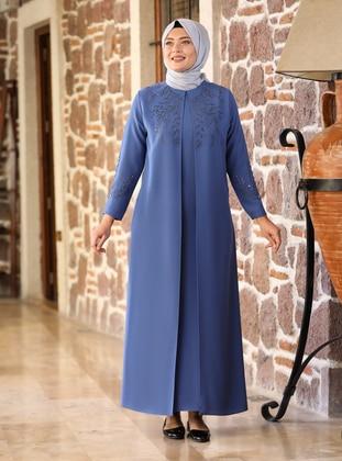 Indigo - Fully Lined - Crew neck - Modest Plus Size Evening Dress