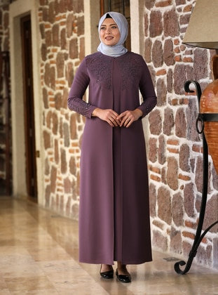 Powder - Fully Lined - Crew neck - Modest Plus Size Evening Dress