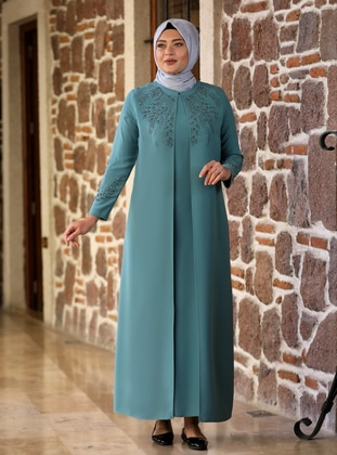 Mint - Fully Lined - Crew neck - Modest Plus Size Evening Dress