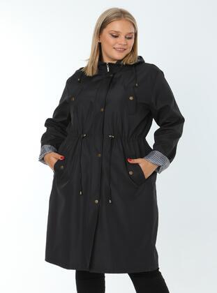 Black - Plus Size Trench coat - Arıkan