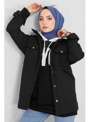 Black - Unlined - Point Collar - Puffer Jackets