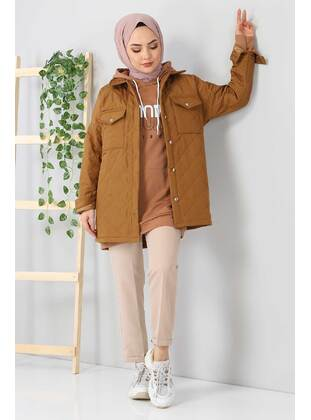 Tan - Unlined - Point Collar - Puffer Jackets