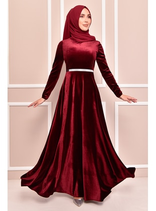 Maroon - Modest Evening Dress