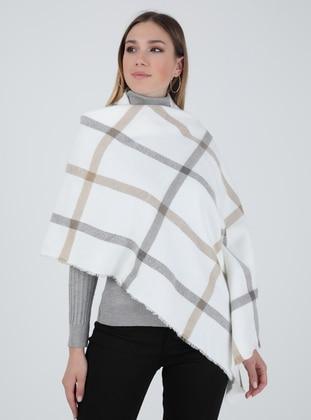 Ecru - Striped - Shawl Wrap - Tachnisa