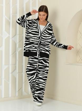 White - Black - Zebra - Unlined - Knit Suits
