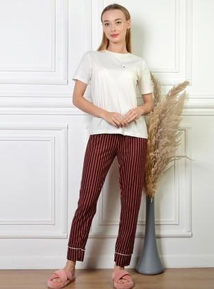 White - Maroon - Stripe - Pyjama Bottoms