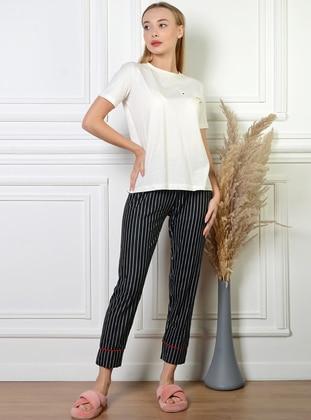 White - Black - Stripe - Pyjama Bottoms