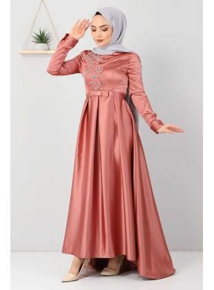 Salmon - Unlined - Crew neck - Modest Evening Dress