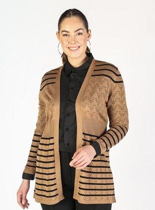 Camel - Stripe - Plus Size Cardigans
