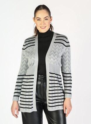 Gray - Plus Size Cardigans - Lavien