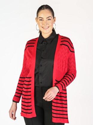 Red - Stripe - Plus Size Cardigans - Lavien
