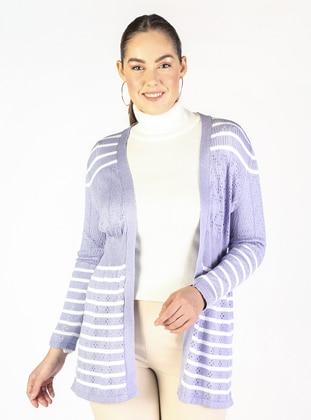 Lilac - Stripe - Plus Size Cardigans - Lavien