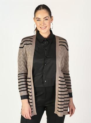 Mink - Stripe - Plus Size Cardigans - Lavien