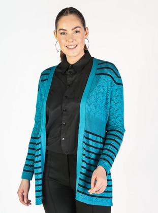 Green - Stripe - Plus Size Cardigans - Lavien