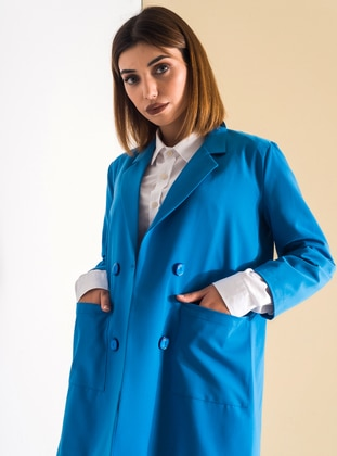 Blue - Fully Lined - Shawl Collar - Cotton - Jacket