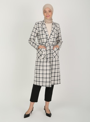 Gray - Plaid - Fully Lined - V neck Collar - Topcoat