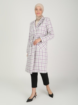 Lilac - Plaid - Fully Lined - V neck Collar - Topcoat