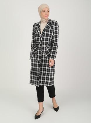Black - Plaid - Fully Lined - V neck Collar - Topcoat