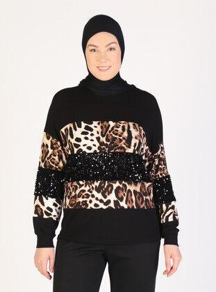 Black - Leopard - Crew neck - Blouses - Lavien