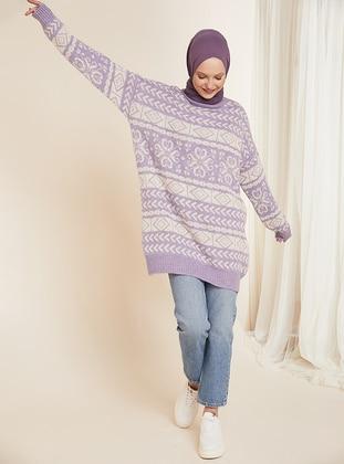 Lilac - Multi - Crew neck - Unlined - Knit Tunics