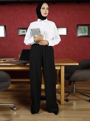 Black - Stripe - Cotton - Pants