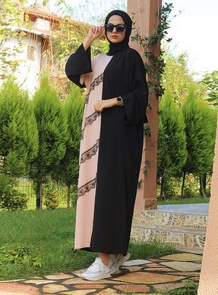 Pink - Black - Crew neck - Unlined - Modest Dress