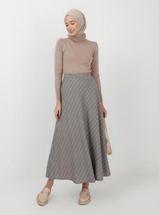 White - Gray - Checkered - Unlined - Skirt