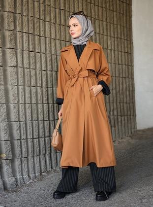 Caramel - Unlined - Shawl Collar - Cotton - Trench Coat