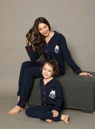 Shawl Collar - Navy Blue - Girls` Pyjamas