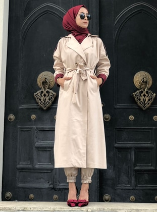 - Fully Lined - Shawl Collar - Cotton - Trench Coat