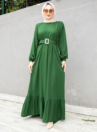 Green - Crew neck - Modest Dress