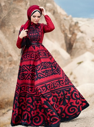 Red - Fully Lined - Point Collar - Modest Evening Dress