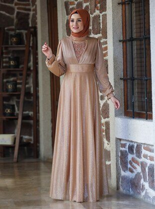 Gold - Silvery - Fully Lined - Crew neck - Modest Evening Dress