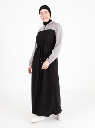 Gray - Black - Crew neck - Unlined - Plus Size Abaya