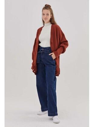 Cotton - Dark Blue - Denim Trousers