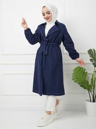 Dark Blue - Unlined - Shawl Collar - Cotton - Trench Coat
