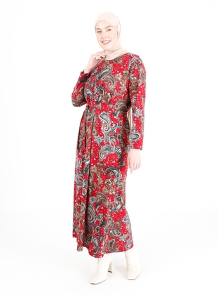 Red - Multi - Unlined - Crew neck - Plus Size Dress