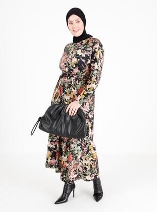 - Black - Multi - Unlined - Crew neck - Plus Size Dress