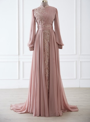 Onion Skin - Fully Lined - Crew neck - Modest Evening Dress